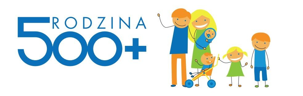 Logo Programu 500+ przedstawiające uśmiechniętą rodzinę